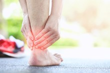 Men Have Injuries To The Back Of The Ankle, Male Health Care Concepts