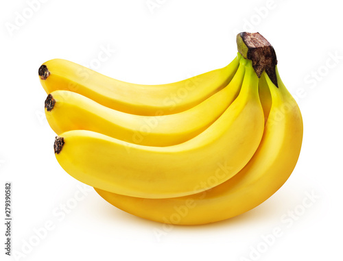 Banana bunch isolated on white background, closeup Canvas Print