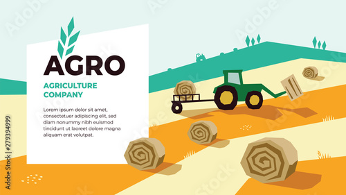 Obraz Vector illustrations of agriculture with tractor, hayfield, haystack rolls,farm land,field. Logo Agro with spike of wheat. Template for banner, annual report, prints, flyer,landing page, website, blog - fototapety do salonu