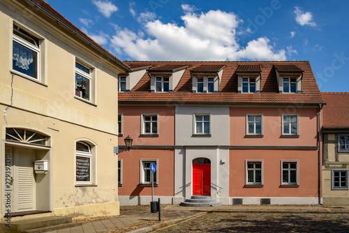 Haus mit roter Tür am Markt in Storkow, bis 1942 Wohnhaus der letzten Storkower Canvas Print