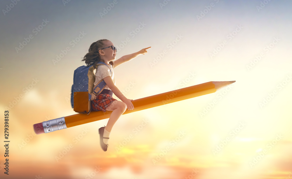 Fototapety, obrazy: child flying on a pencil