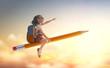 Leinwandbild Motiv child flying on a pencil
