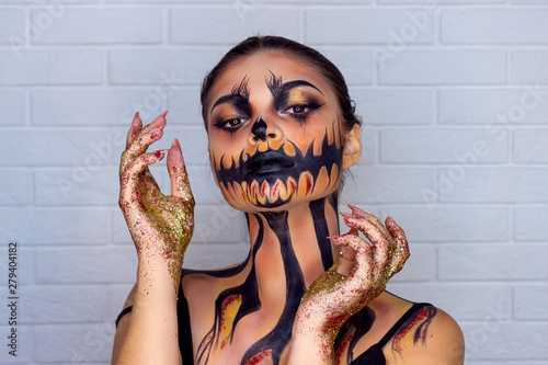 Obraz na plátne Vampire Halloween Woman portrait