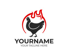 Chicken In Circle And Flame Of Fire, Logo Design. Food, Meal And Eating, Eatery And Restaurant, Vector Design And Illustration