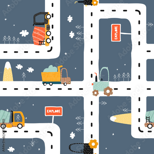 Seamless pattern with road? truck and tractor Wallpaper Mural