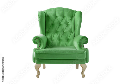 Photo Isolated light green armchair