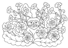 Coloring Page With Flowers And...