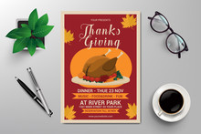 Happy Thanks Giving Flyer Template Vector