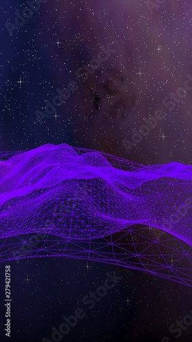 Fototapeta Abstract ultraviolet landscape on a dark background. Purple cyberspace grid. hi tech network. Outer space. Violet starry outer space texture. Vertical image orientation. 3D illustration obraz na płótnie