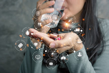 Close Up Of Woman Holding Pill And Glass Of Water,Diet Concept.Capsules Vitamin And Dietary Supplements.