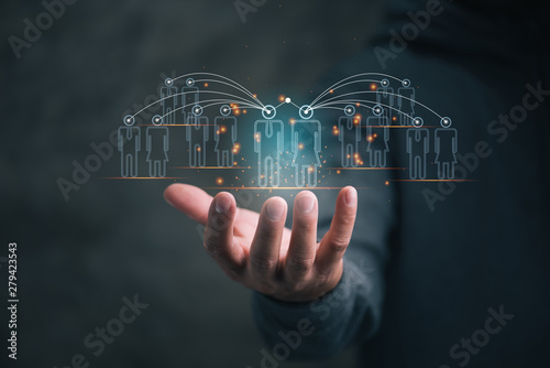 Fototapeta Human resources management and recruitment business process concept with HR mana