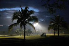 Green Golf Course And Fog In The Evening.