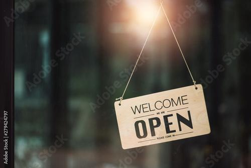 "Vászonkép ""Open"" on cafe or restaurant hang on door at entrance."