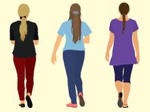 Teens Or Young Women Walking Away