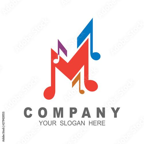 Letter m logo with melody design illustration, music icon, studio logo template Wallpaper Mural