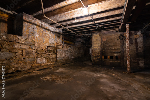 Grungy warehouse basement Canvas Print