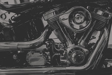 Art Photography In Black And White Vintage Tone Of Chopper Motorcycle Engine., Dim Vintage Tone