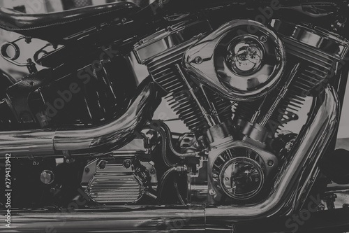 Fotografia, Obraz  art photography in black and white vintage tone of chopper motorcycle engine