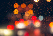 Blur Rainy Night Bokeh City Road Romantic Colorful Background