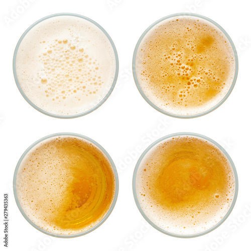 Photo sur Toile Biere, Cidre beer bubbles in glass cup on white background. top view collection isolated on white background.