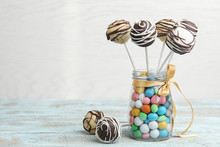 Glass Jar With Tasty Cake Pops...