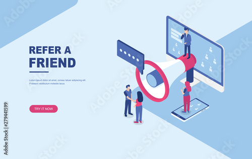 Refer a friend concept, people shout on megaphone, character