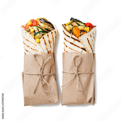 Vegan tortilla wrap, roll with grilled vegetables Canvas Print