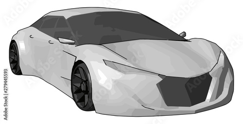 Obraz na plátně  White lamborghini gallardo, illustration, vector on white background