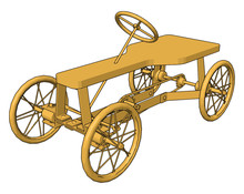 Wooden Carriage, Illustration, Vector On White Background.