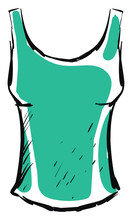 Green Woman Shirt, Illustration, Vector On White Background.