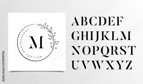 Feminine Floral letters logo design template - Vector Wallpaper Mural