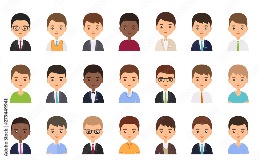 Fototapeta Men faces. Avatar male character in flat design. Business person. Vector. People icons isolated on white background. Set office workers. Cartoon illustration.