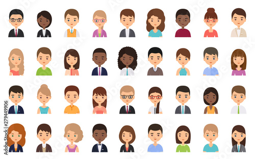 People faces. Avatar character in flat design. Business person. Vector. Men and women icons isolated on white background. Set female, male office workers. Cartoon illustration. - 279449906