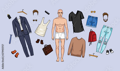 Photographie Vector illustration of a set of clothes and accessories for men