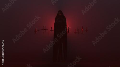 Vászonkép Black Cloaked Seductive Vampire Devil Wrapped in a Futuristic Haute Couture Dres