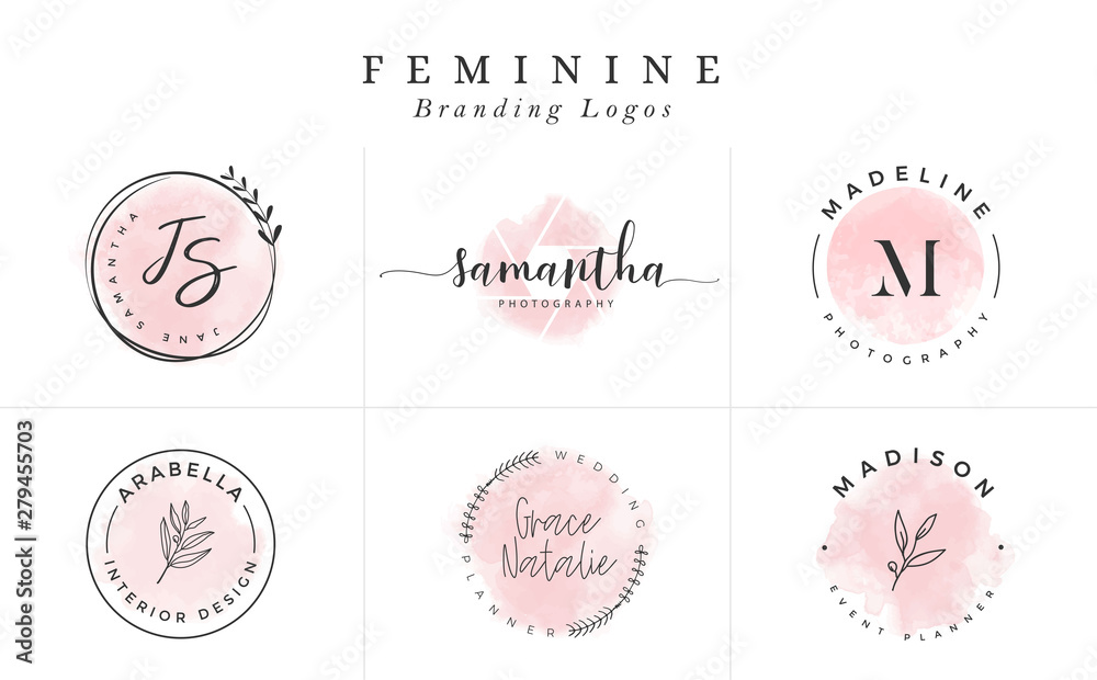 Fototapety, obrazy: Set of Feminine Vector Signs or Logo Templates - Vector