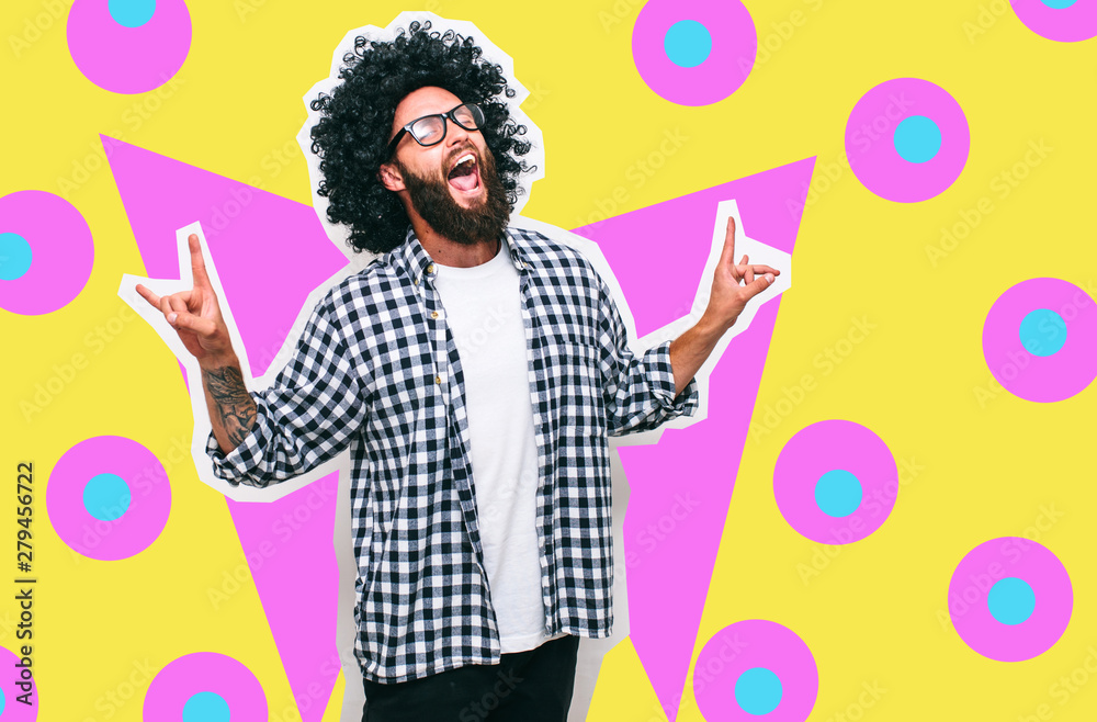 Fototapeta Crazy hipster guy emotions. Collage in magazine style with happy emotions. Colorful summer concept.
