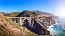 Bixby Creek Bridge At The Pacific Highway, California, USA. A Landmark Bridge On Highway 1, The Most Beautiful Road In USA.