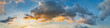 Leinwandbild Motiv Dramatic panorama sky with cloud on sunrise and sunset time. Panoramic image.