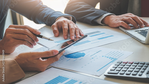 Fototapeta Administrator business man financial inspector and secretary making report calculating balance. Internal Revenue Service checking document. business concept obraz