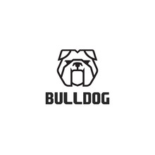 Bulldog Logo Vector Design Template In Isolated White Background