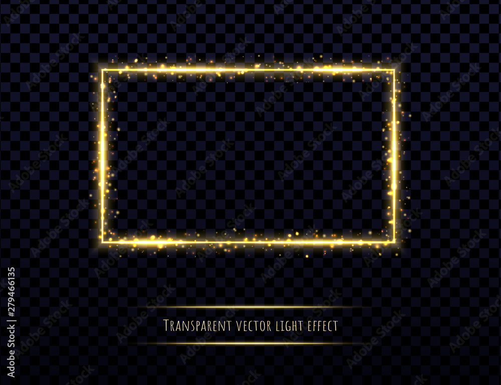 Fototapety, obrazy: Golden frame with light effects isolated on transparent background. Shining rectangle border with glowing sparkles.