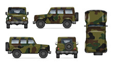 Army Truck Isolated Vector Moc...