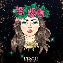 Beautiful Line Art Filigree Zodiac Sign On Vintage Background.Elegant Jewelry Tattoo.Engraved Horoscope Symbol.For Printing Removable Temporary Tattoo Sticker Body Art Multicolor.Virgo