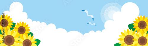 入道雲の浮かぶ夏空【背景】【風景】