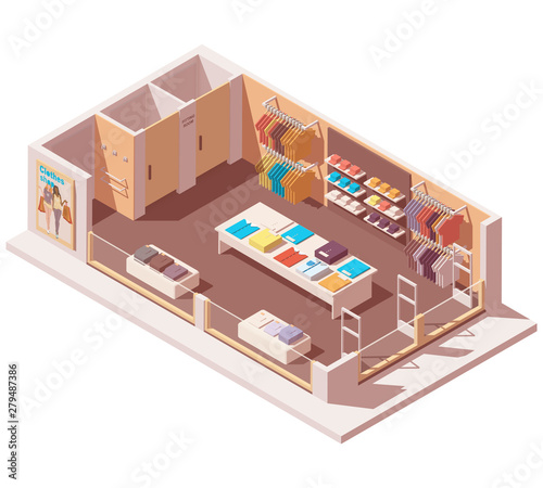 Vector isometric clothing store interior cutaway icon Wallpaper Mural