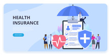 Health Insurance Protection. Healthcare Concept. Vector Illustration Flat Design Style