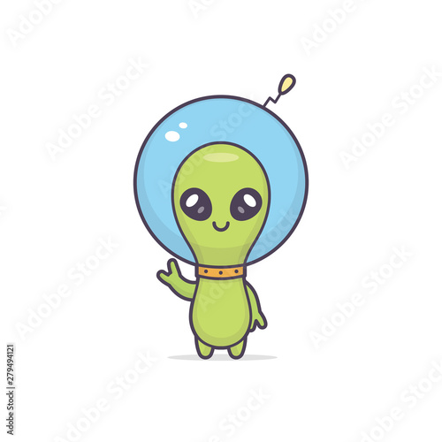 Stampa su Tela Cute friendly kawaii alien cartoon character vector illustration
