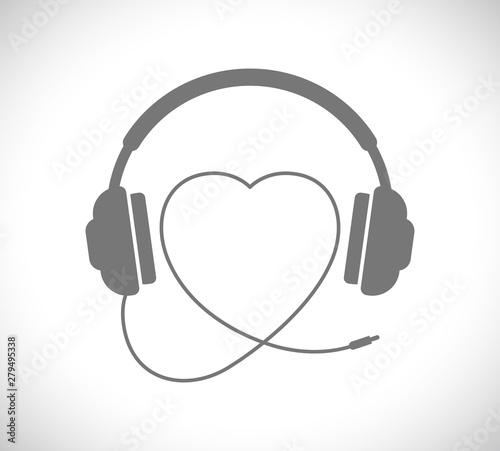 Fotografie, Obraz  headphones with heart shape wire