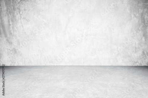 Fotografie, Obraz  Empty white concrete room and floor background, Perspective grey gradient concre